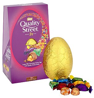 Quality Street Easter egg contains133kcals per 25g serving and1,479kcals overall