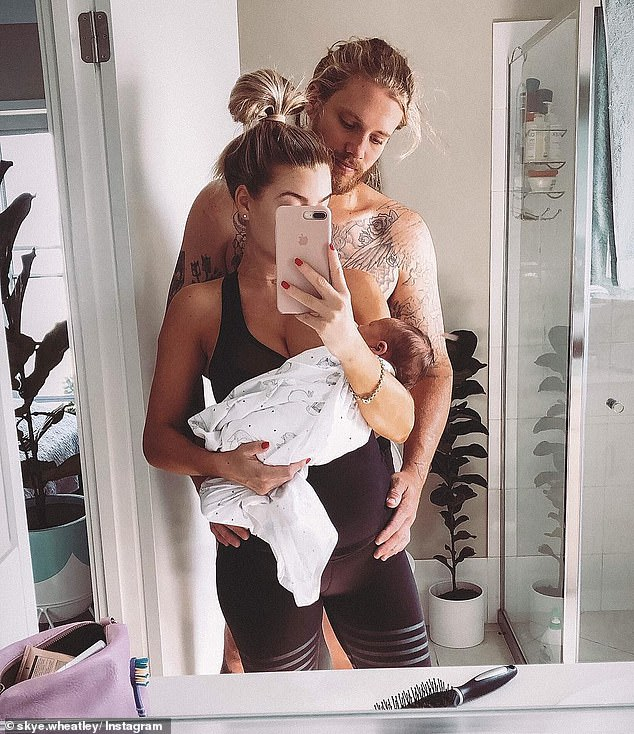 Family:Skye shares the sweet boy with boyfriend of 17 months Lachlan Waugh
