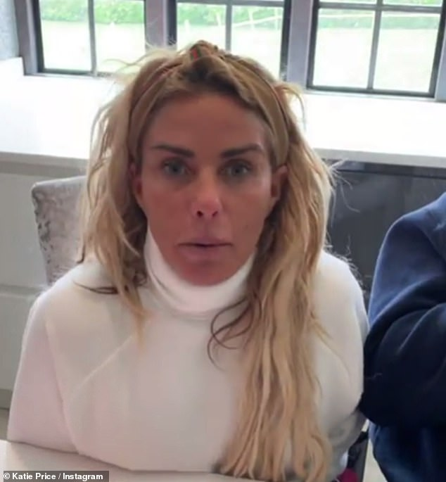 Worry:Fans expressed concern for Katie Price's well-being after she appeared worse for wear in a promotional video shared with her two million Instagram followers on Friday afternoon