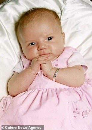 Ellie-Jayne, who is now 13, is pictured as a baby