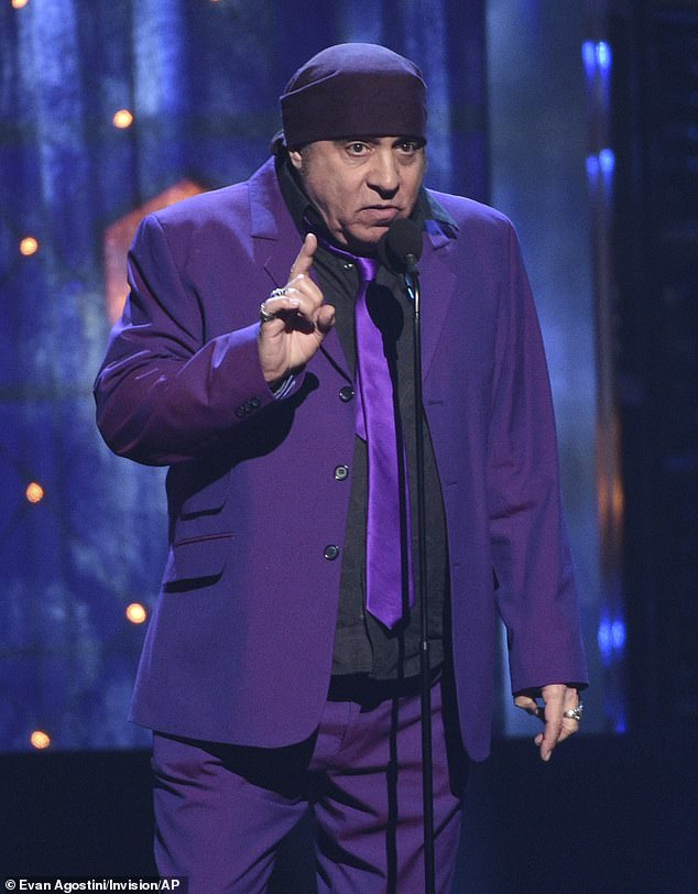 Surprise performance: Steven Van Zandt, best known for his role on The Sopranos and his longtime tenure in Bruce Springsteen's E Street Band, helped sing an all-star tribute to David Bowie