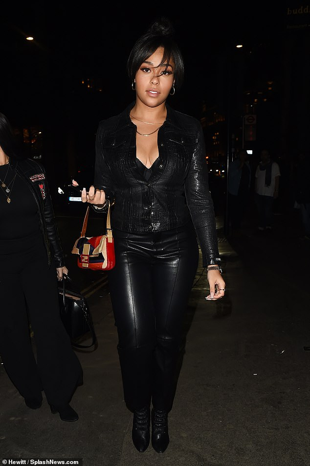 Hell for leather: Jordyn Woods put her best foot forward as she put on a confident display during a night out at Mr Chow restaurant in Knightsbridge, London on Friday