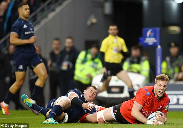 Kieran Treadwell pounced to score Ulster's first try and put them ahead against Leinster