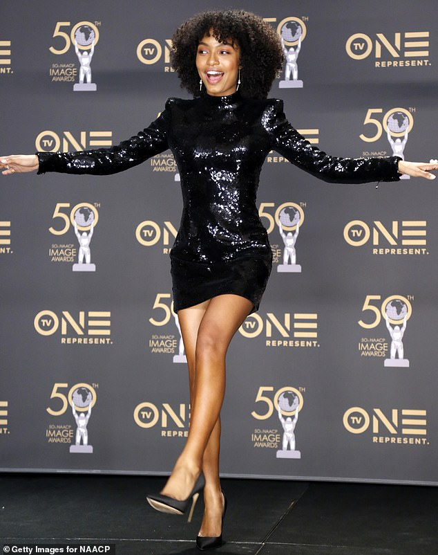 Leggy display: Freed of the extra dressing, her toned legs took center stage