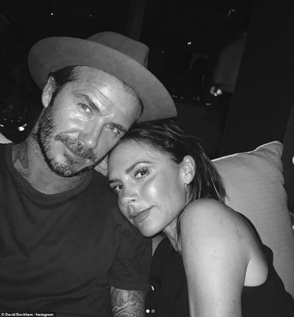 Sweet: David Beckham led the celebrations for Mother's Day on Sunday as he shared a throwback photo with his wife Victoria
