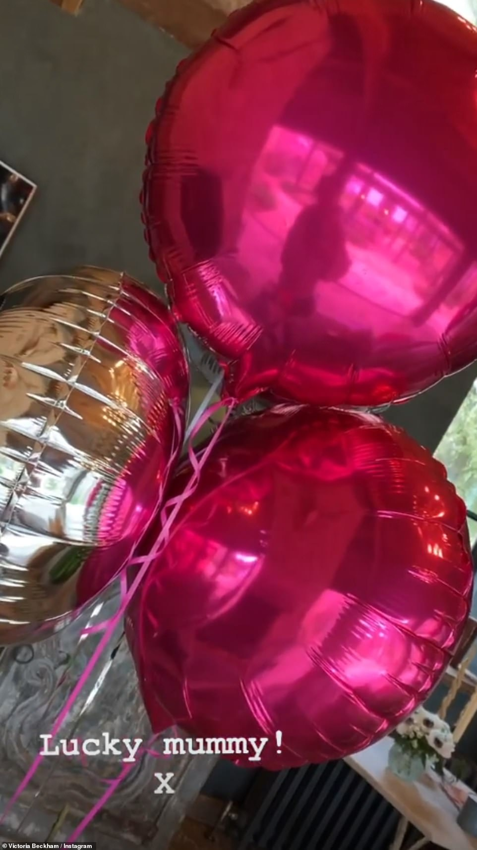 Delighted: Victoria showed off her pink balloons on Instagram and gushed she was the 'luckiest mummy'