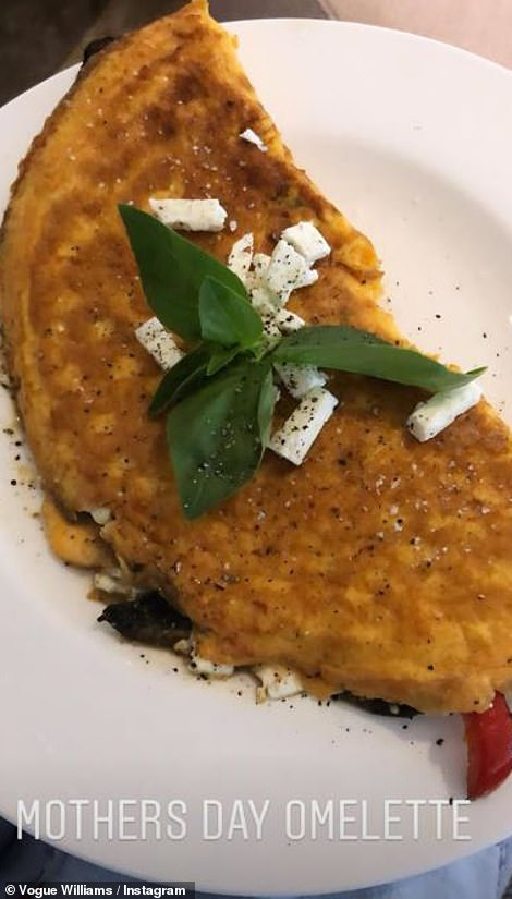 Yummy: Vogue enjoyed an omelette created by husband Spencer Matthews