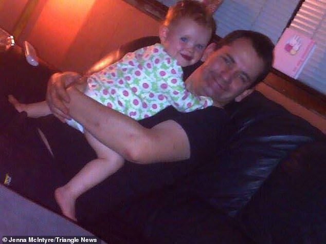 Mr Brolly was initially treated at University Crosshouse Hospital in Ayrshire when he was admitted with a heart attack (pictured holding Eilidh before his heart attack)