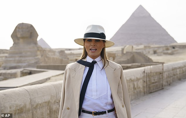 African tour: Melania Trump went to Africa for five days last October, visitingGhana, Malawi, Kenya, and finally Egypt where she was photographed in front of the Sphinx and the Great Pyramid of Giza
