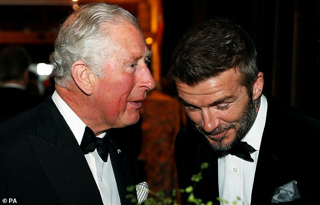 Beckham Snr smiled as he leaned in to listen to what the future king was saying on Thursday