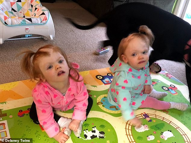 Today, the girls attend developmental therapy three times a week and have a home visit with the therapist once a week.Erin (right) is crawling and learned how to say 'Dada' while Abby (left) is developmentally behind her sister