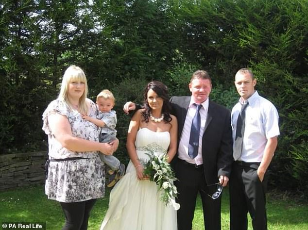 Kelly (pictured left, holding Max at her sister's wedding) was inspired to overhaul her lifestyle after discovering she weighed five stone more than her husband Charlie, 31 (right)