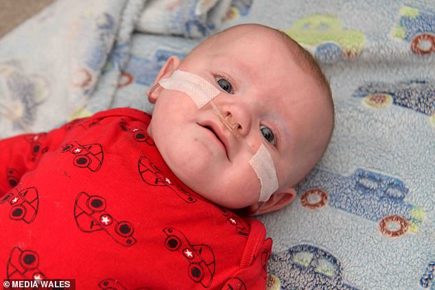 River Willis (pictured recently, aged seven months) spent the first five months of his life in hospital after he was born four months premature on July 27 last year. He also endured sepsis at three weeks. Although home, he requires oxygen ahead of open-heart surgery in October
