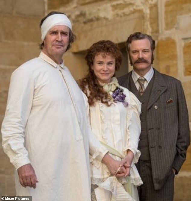 Dedicated: The British actor has revealed that he went the extra mile for his role as Oscar Wilde in his new film The Happy Prince, by consuming beer to change his physique. Rupert is pictured with co-stars Emily Watson and Colin Firth
