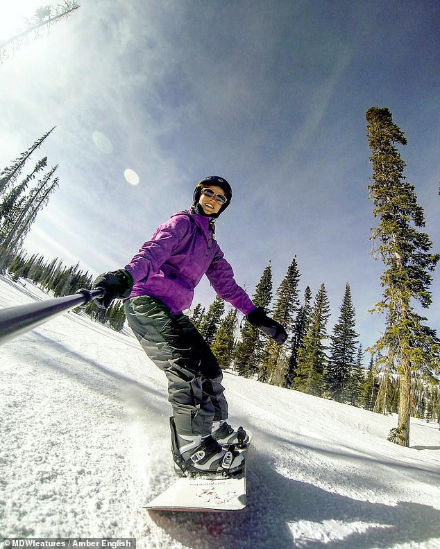 Amber English, 28, was living in Colorado and snowboarding regularly when, one day, she lost control and smashed into a tree at 55mph