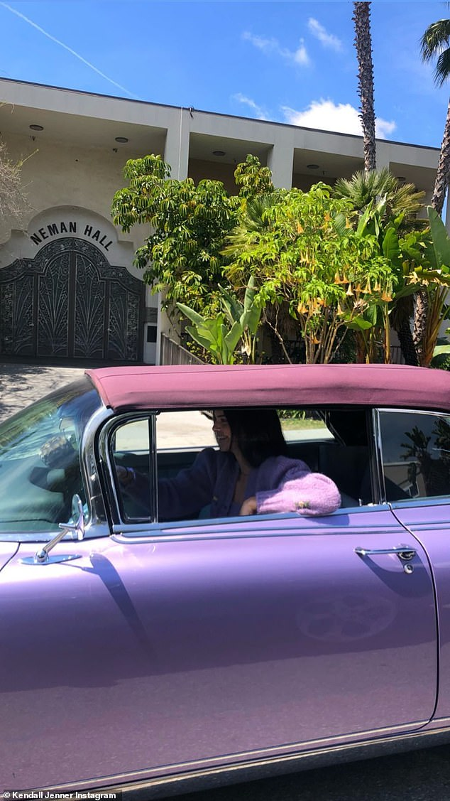 Top up: Jenner shared a shot of the car with its top up on Instagram
