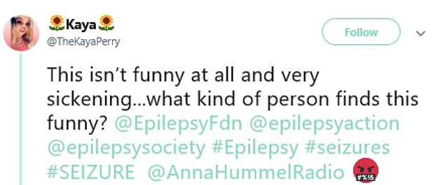 After radio host Anna Hummel revealed she found the humour 'so good', one Twitter user shared her outrage and said she felt 'sickened'