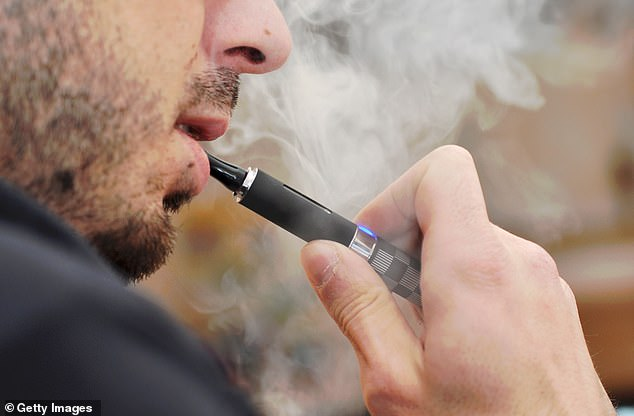 David Bishop, 25, from Cordova, Tennessee, has filed a lawsuit against three companies after an e-cigarette exploded in his mouth in May 2018, tearing part of his cheek off and burning him (file image)