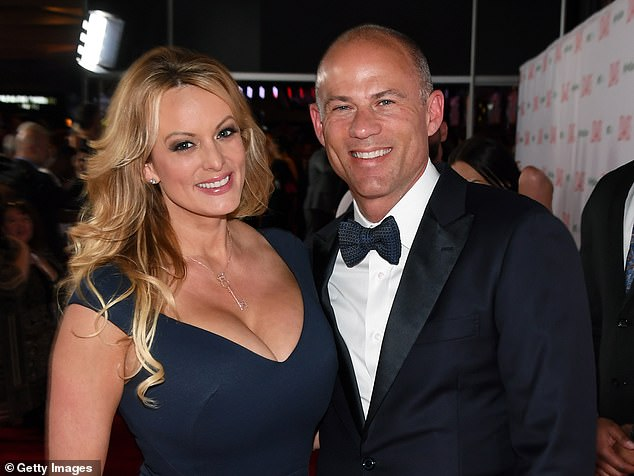 "The judge denied Storie's request to take possession of Avenatti's rights to life, which could be used to obtain money for films or documentaries made on the controversial lawyer, writing that his request was ""exaggerated and lacking specificity"". Pictured: Avenatti with his former porn star Stormy Daniels"