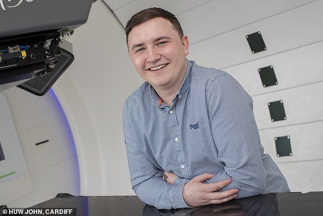 Ryan Scott, 23, of Cardiff, is the first NHS patient to have been treated with proton beam therapy at private clinicThe Rutherford Centre in Newport, South Wales