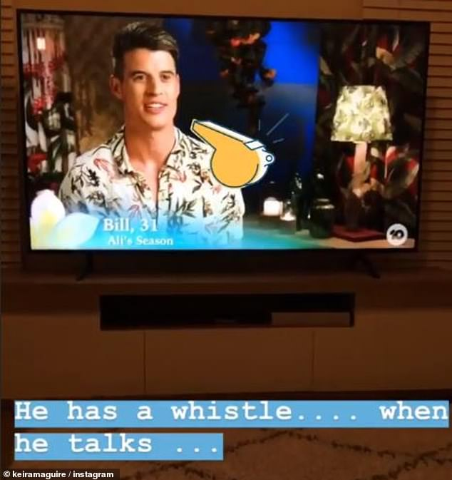 He sounds funny:In the first clip, background information on former Bachelorette contestant Billy Goldsmith was aired, Keira was quick to mock the reality star's voice