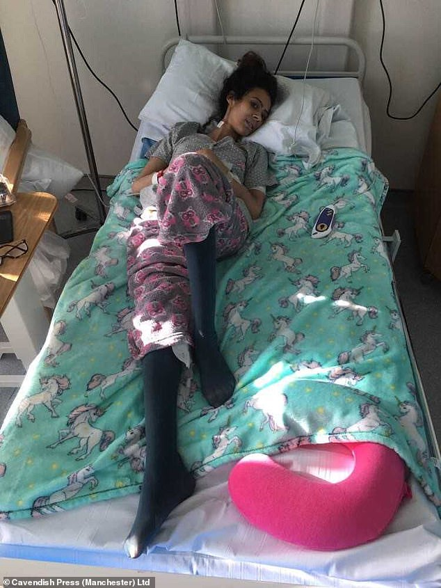 Despite her passion and desperation to succeed as a dancer, her severe stomach pains and constant bouts of sickness became a huge obstacle (pictured in hospital in December 2017)