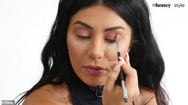 'Powder sticks to powder!': Martha began by explaining that a good foundation and powder base is essential to creating the perfect eyeshadow look