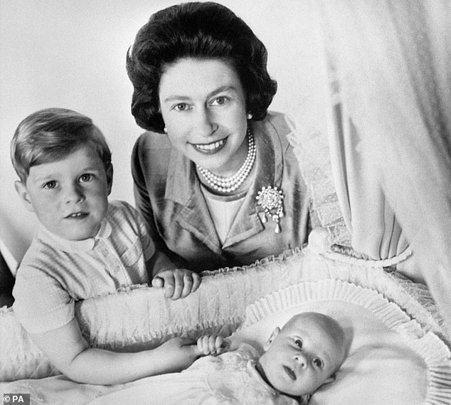 The Queen gave birth to each of her four children at either Buckingham Palace or Clarence House (pictured with Prince Andrew, four, and a newborn Prince Edward in June 1964)