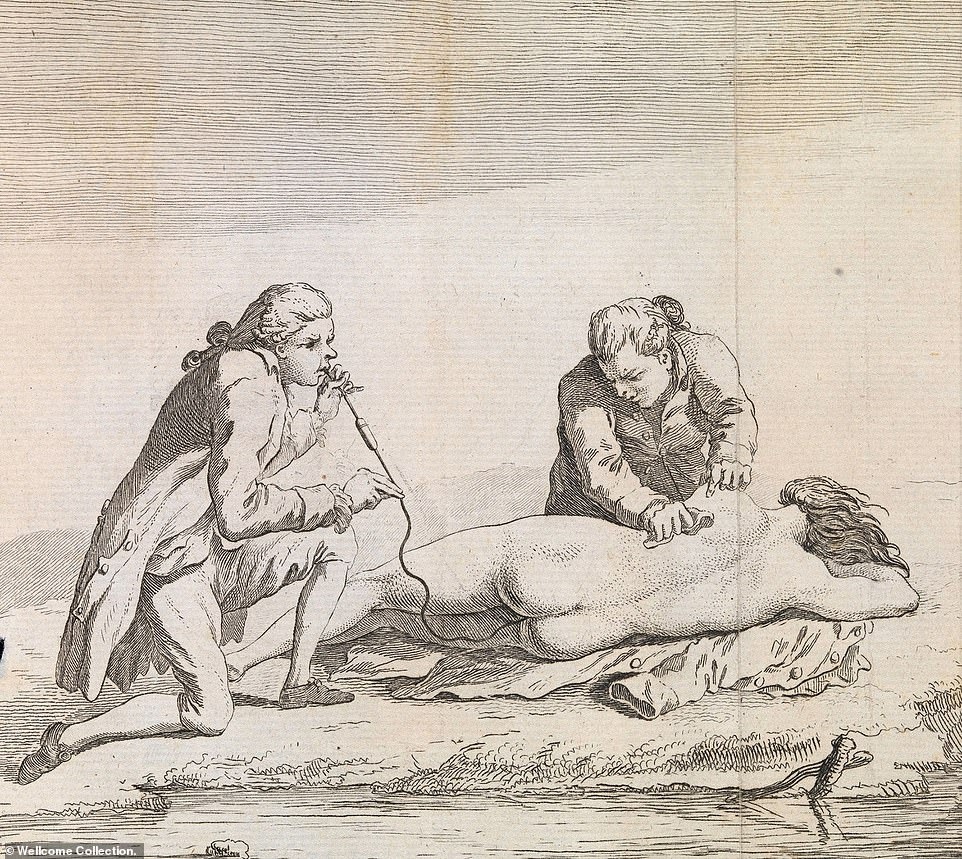 In the Georgian era - from 1714 to 1837 -one of the most unusual uses of tobacco was in a smoke enema to resuscitate victims of drowning (pictured).Physicians at the time believed that tobacco smoke combated cold and drowsiness, making it a logical choice in the treatment of drowned people in need of warmth and stimulation. Kits consisting of a nozzle, fumigator and a pair of bellows were placed along the River Thames in London by the Royal Humane Society. Once it was discovered that the main ingredient in tobacco, nicotine, is poisonous, the practice began to lose favour during the early 19th century