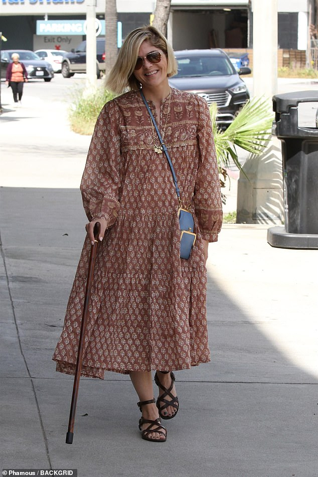 Errands: Selma Blair was seen out and about in Los Angeles on Thursday, using a cane as a walking aid. The actress, 46, was diagnosed with multiple sclerosis last year