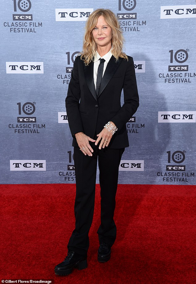 Back in black: Sleepless In Seattle star Meg rocked an androgynous look for her red carpet turn