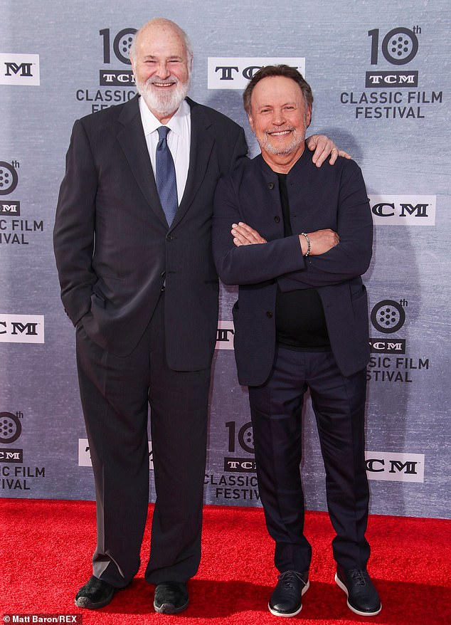 Collaborators: Billy obviously got the memo, matching Meg's dark ensemble with his own monochromatic look. He's posing here with the film's director, Rob Reiner
