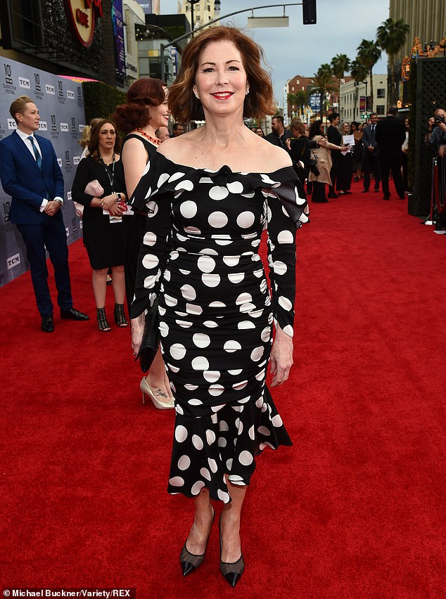 Spot the difference: Dana Delany looked decades younger than her 63 years in a polka dot dress
