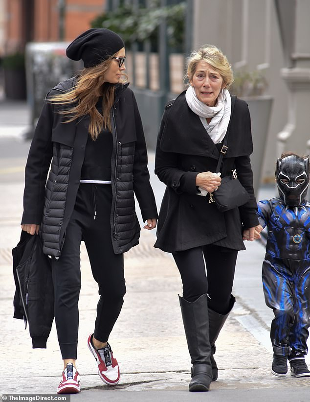 Walk and talk: The ladies enjoyed a catch up during their leisurely stroll through the big city