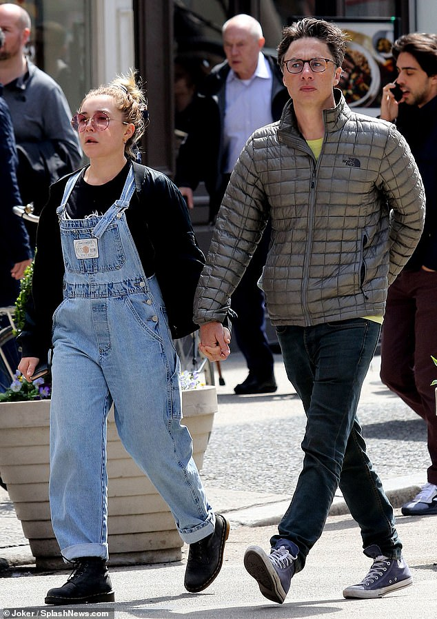Out and about:Zach Braff was seen strolling hand in hand in New York City with Florence Pugh on Friday amid reports they are to work together