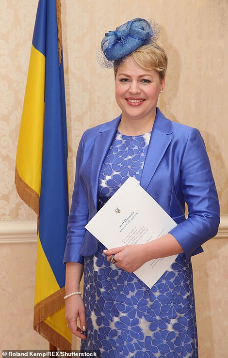 Ukraine Ambassador Natalia Galibarenk, pictured, was not in the car at the time