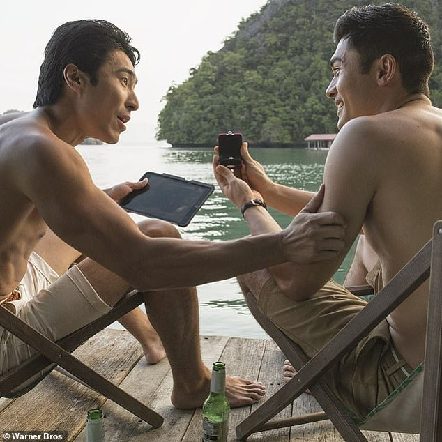 Role: In Crazy Rich Asians, Chris, 34, plays protagonist Nick Young's (right) childhood best friend (left) and is given ample screen time alongside Hollywood stars including Ken Jeong