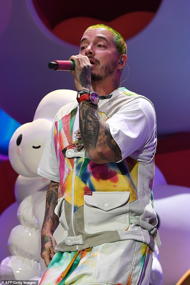 He likes it: Cardi B colleague J Balvin also took to the stage - although his colleague I Like It was not there