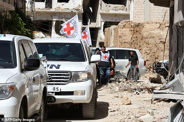 She and seven other Red Cross workers were snatched from a convoy near the Syrian city, with four of them being released the next day [file photo]
