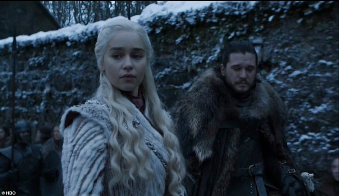 Jon and Dany:Jon ultimately mounts the dragon as it flies off, much to the delight of Daenerys, who takes off with her dragon as well as they fly around Winterfell as Tyrion, Varys and Davos look on in awe