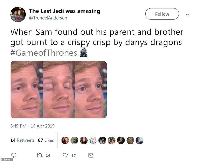 Poor Sam: Users continued to pile on the maester-in-waiting, like in this meme by @TrendelAnderson