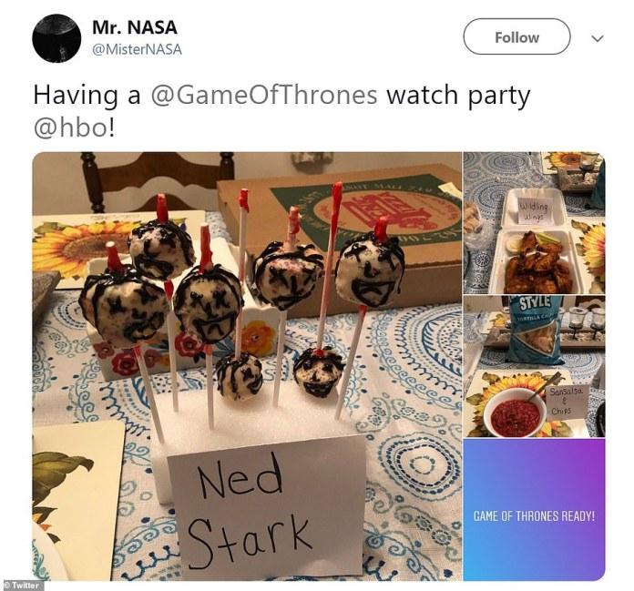 Food ready: Smaller watch parties with family and friends also were shared on social media