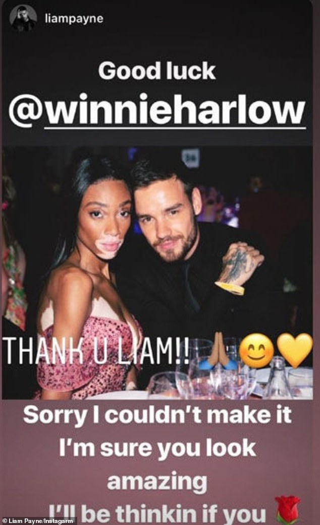 Firm friends: The like comesfive months after Liam wished Winnie luck as she prepared to make her catwalk debut with Victoria's Secret