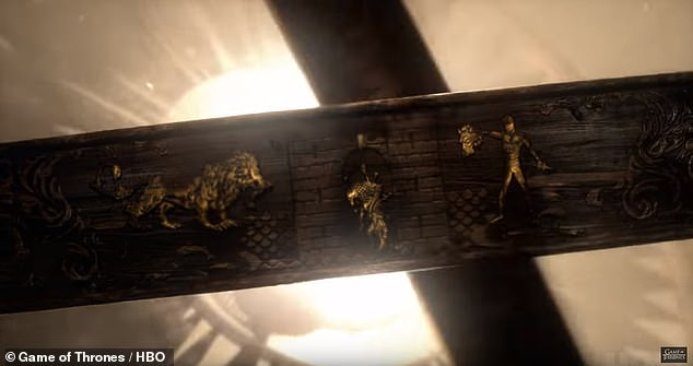 Spotted: Some eagle-eyed fans have pointed out that symbols which pop up on screen throughout the credits may point to critical events from past seasons (Pictured, symbols which could show the Red Wedding)