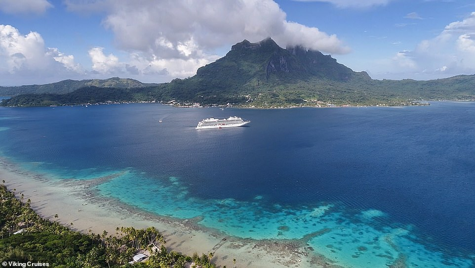 The Viking Sunphotographed as it sails around the blue waters of the Society Islands, which is the most populated archipelago of French Polynesia. The ship, built in 2017, is on the smaller end of the scale and holds just 930 guests