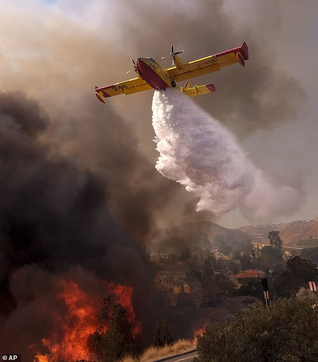 The president suggested: 'Perhaps flying water tankers could be used to put it out.' Above an air tanker drops water on a fire along the Ronald Reagan (118) Freeway in Simi Valley, Calif., Monday, Nov. 12, 2018