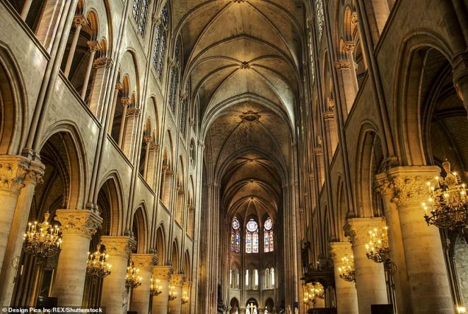 A spokesperson for the cathedral told Le Monde that the entire frame of the historic cathedral's roof (pictured here before the blaze) had caught fire
