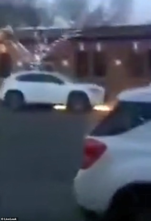 The suspect is said to have drawn a line in gasoline and lit it on the sidewalk after targeting a number of cars