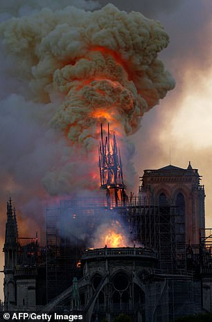 A fire broke out at the 12th century cathedral around 6 p.m. GMT (2 p.m. EDT) Mon and grew to engulf the entire wooden interior