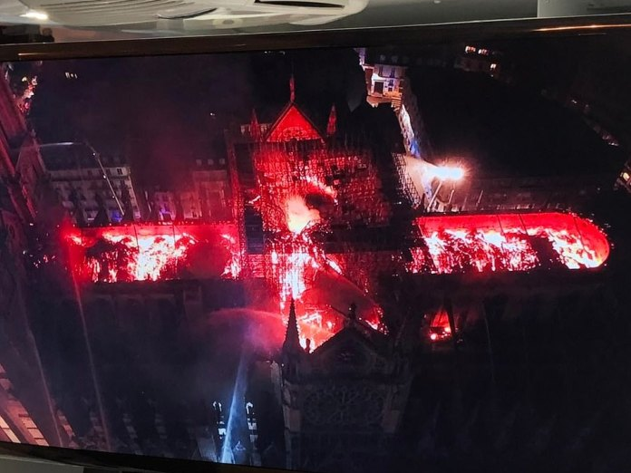 An aerial view of the cathedral reportedly taken from a police drone showed the famous structure completely stripped of its roof and still ablaze on the inside